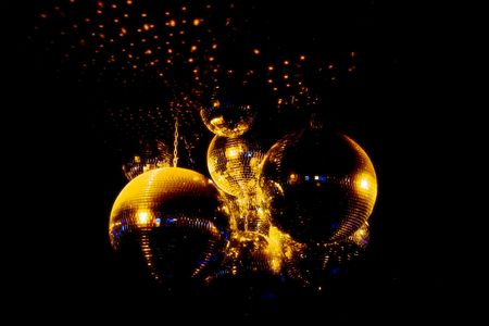 Mirror balls for discos on a black background