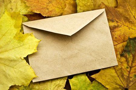 The closed envelope on autumn foliage photo