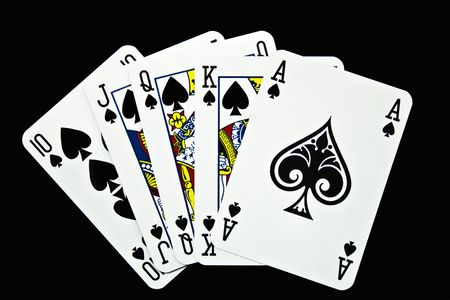 ace of spades: Playing cards on a black background