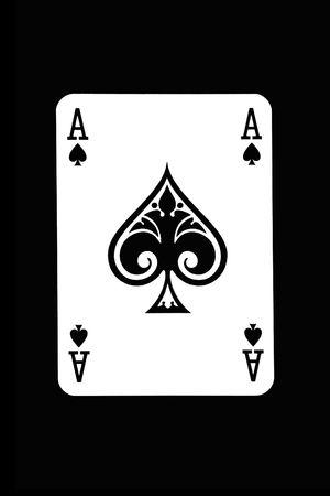 as de picas: Reproducci�n de una tarjeta de fondo negro Editorial