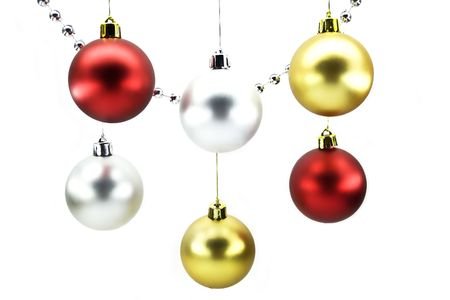 Christmas-tree decorations isolated on a white background photo