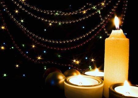 Candles and Christmas-tree decorations Stock Photo - 3753863