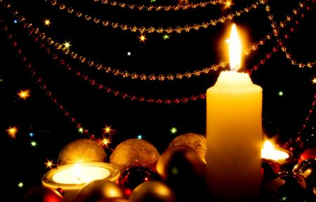 Candles and Christmas-tree decorations Stock Photo - 3753864
