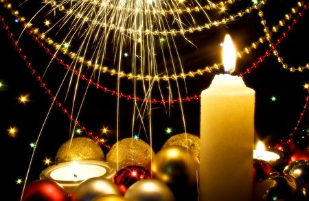 Candles and Christmas-tree decorations Stock Photo - 3753992