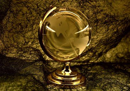 matte: glass globe against a fibrous fabric