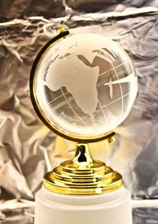 matte: glass globe against ������������ a foil