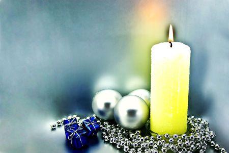 Christmas congratulatory card with Christmas-tree decorations Stock Photo - 3826384