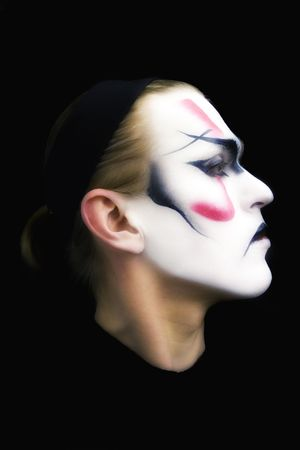 Portrait of the actor of traditional Japanese theatre Kabuki photo