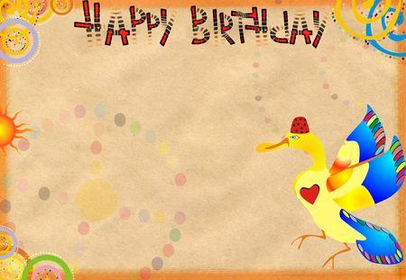 congratulatory: Original celebratory congratulatory card with birds Stock Photo