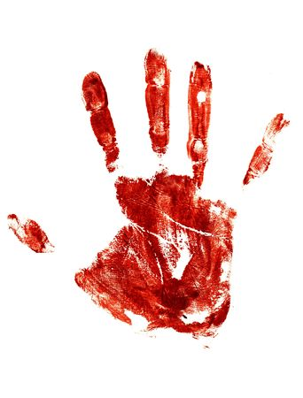 bloody hand print:  bloody Trail of a human hand on a white background