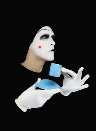 Portrait of the mime with a blue cup photo
