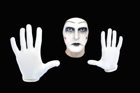 mime isolated on a black background photo