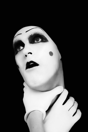 parody: mime with hands on a neck Stock Photo