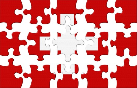 separate: Flag of Swiss puzzle isolaited on a white Stock Photo