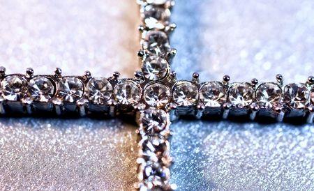 brilliants: Silver cross with brilliants Stock Photo