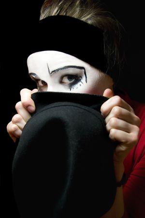 mimo: Retrato de la triste mimo con un sombrero Foto de archivo