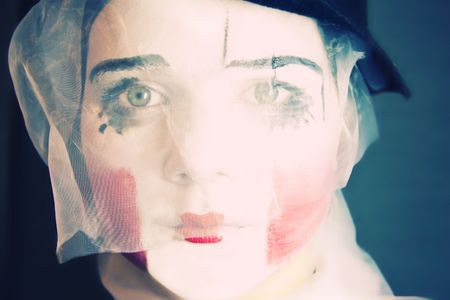 Portrait of the sad mime in a veil Stock Photo - 4755115