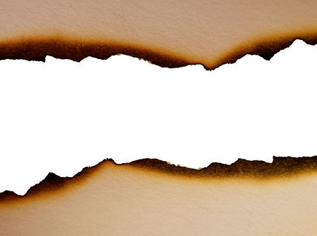 scorched: Sheet of paper with the scorched edges close up Stock Photo