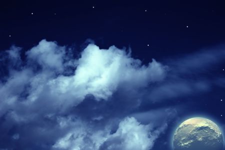 Planets,  moon  stars in cloudy sky Stock Photo - 4911844