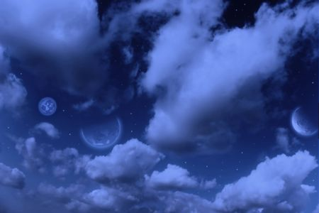 Planets,  moon and stars in  cloudy sky Stock Photo - 4911840