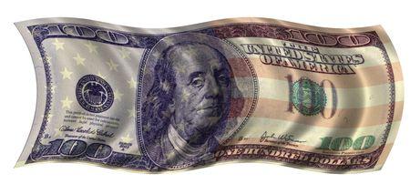 One Hundred dollar flag isolated on white background Banco de Imagens