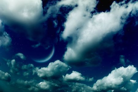 Planets,  moon and stars in the cloudy sky Stock Photo - 4949566