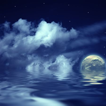 moon and stars in the cloudy sky reflected in water Stock Photo - 4949567