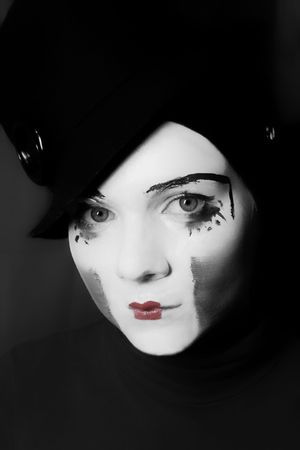 Portrait of  sad mime in  hat Stock Photo - 5016255