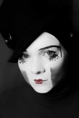 Portrait of  sad mime in  hat Stock Photo - 5016255