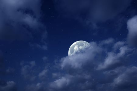 Planets, moon and stars in cloudy sky Stock Photo - 5117423