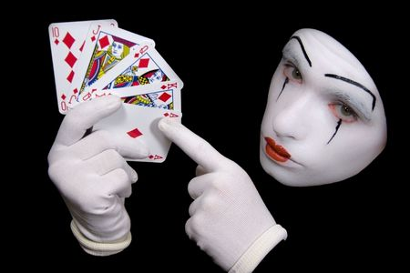 queen of hearts: Portrait of  mime with playing cards Editorial