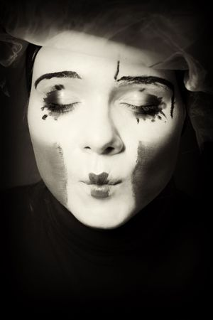 Portrait of the surprise mime in a veil Stock Photo - 5405875