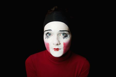 Portrait of the sad mime on a black background Stock Photo - 5420096
