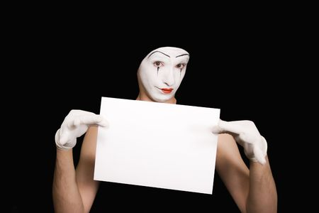 Portrait of  mime on  black background photo