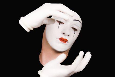 pantomime: Retrato de mimo en los guantes blancos Foto de archivo