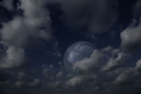 Planets,  moon and stars in  cloudy sky Stock Photo - 5700981