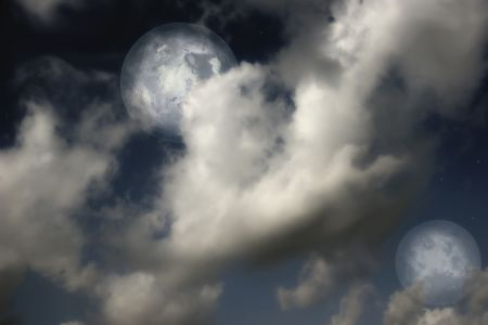 Planets,  moon and stars in  cloudy sky Stock Photo - 5795132