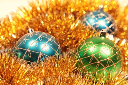 Christmas card with christmas-tree decorations close up Stock Photo - 5966853