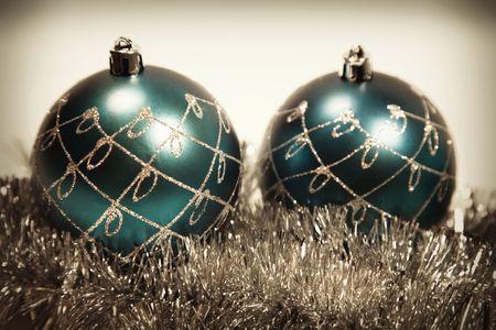 Retro Christmas card with christmas-tree decorations close up Stock Photo - 5984905