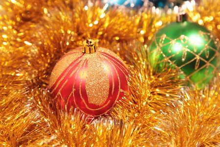 Christmas card with christmas-tree decorations close up Stock Photo - 6124297