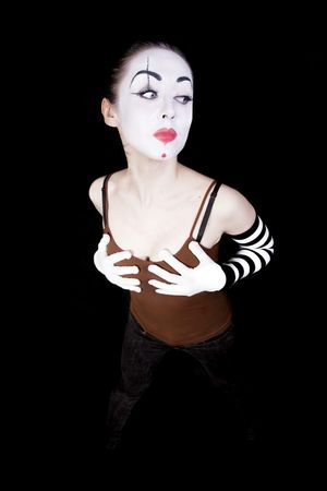 woman mime in white gloves on black background denghu Stock Photo - 6322414