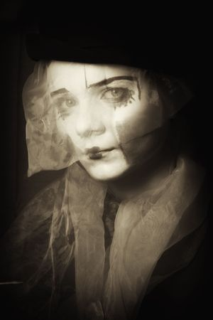 Portrait of the surprise mime in a veil close up monochrome Stock Photo - 6469296