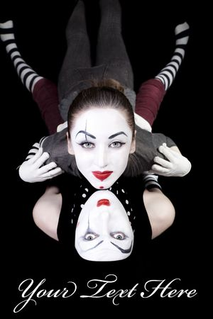 Portrait of two mimes on black background Stock Photo - 6534151