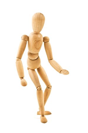 running  wooden mannequin isolated on white background close up photo