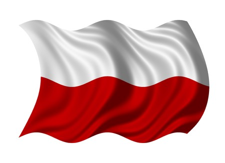 flutter: Flag of Poland isolated on white background Stock Photo
