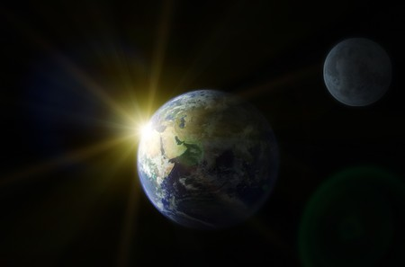 Planet Earth and moon. Space sunrise Stock Photo - 7089292