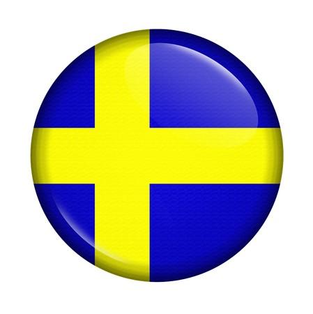 bandera de suecia: Cicon con bandera de Suecia aislado sobre fondo blanco