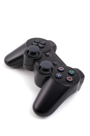 black wireless game controller isolated on white Stock Photo