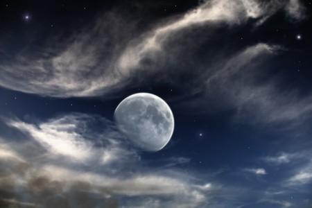 escena de noche hermosa con la Luna y las estrellas