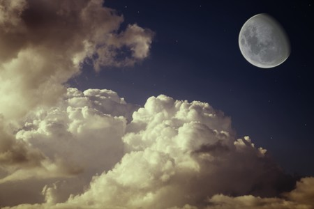 moon and stars in the night blue sky with beautiful clouds Stock Photo - 7671366